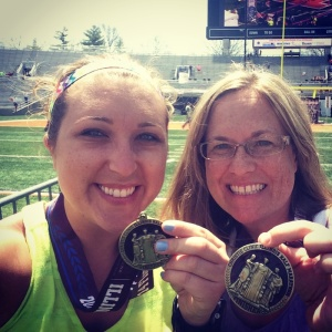 Finish line selfie with Rachel. We run for bling!