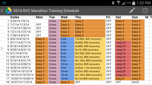 NYC Marathon 18-Week Training Plan