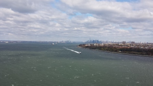At the apex of the Varrazano-Narrows bridge, linking Staten Island to Brooklyn, and one mile into the NYC marathon.