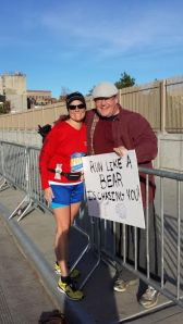 Brad came out to cheer us on at mile 20! Great!